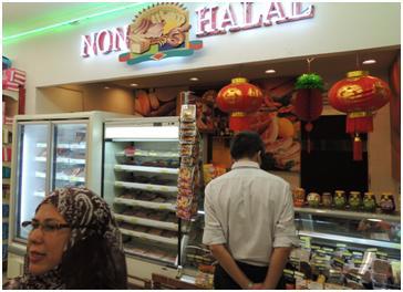 非ハラルの豚肉品売り場